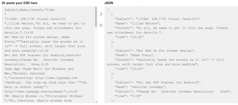 Here's how CSV looks like, compared to JSON