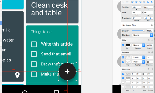 The floating action button is a unique component in material design.