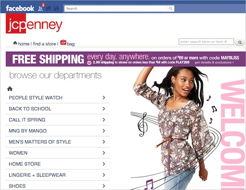 JCPenney's storefront on Facebook