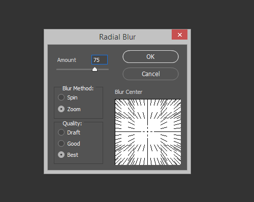 Radial Blur Filter Options