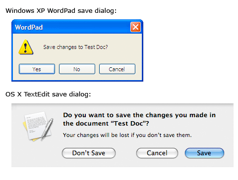 WordPad and OS X save dialogs
