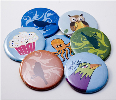 Pins, Badges and Buttons - New Pocket Mirrors!