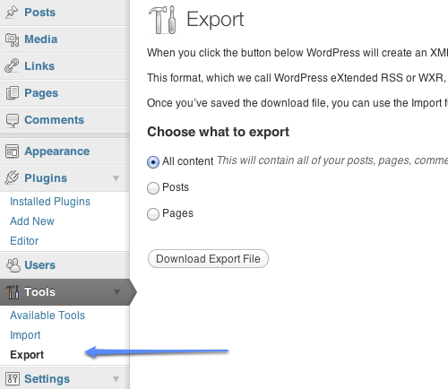 WordPress Content Export