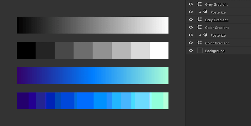 Posterized gradients in Photoshop
