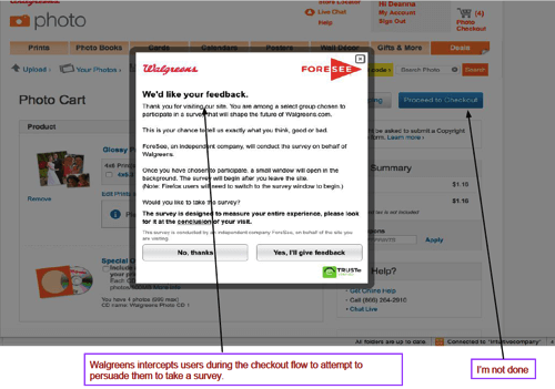 An example of an online intercept asking users to take a survey on Walgreens' website