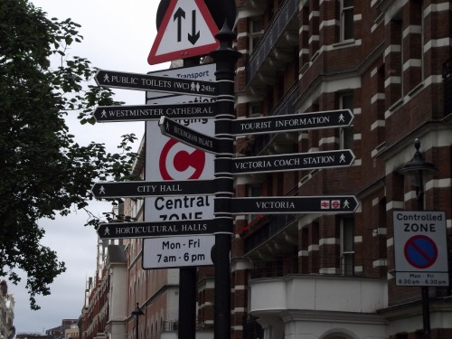 Wayfinding and Typographic Signs - london-directional-signpost