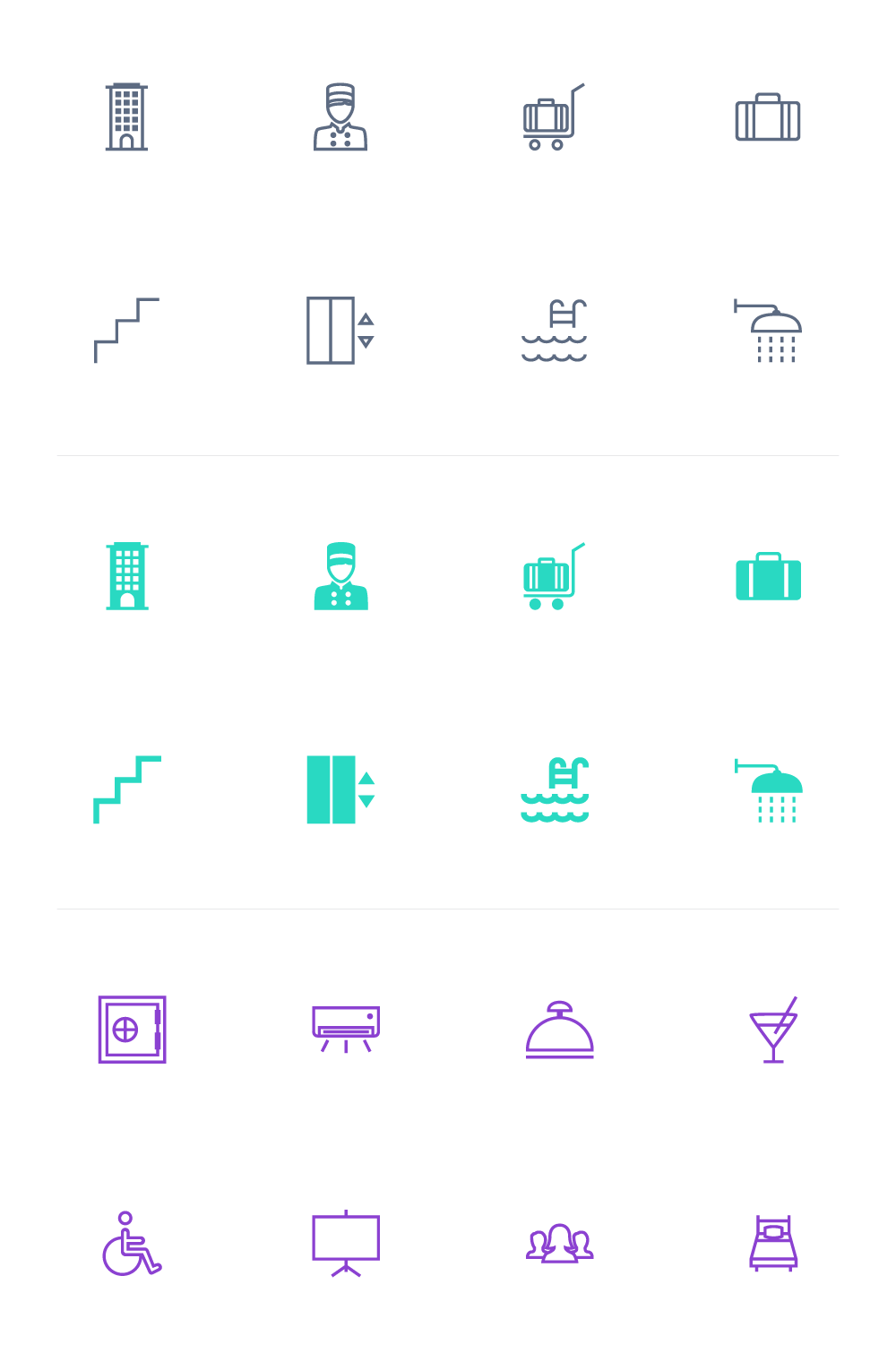 Freebie: Hotel And Spa Icon Set (55 Icons PNG, SVG