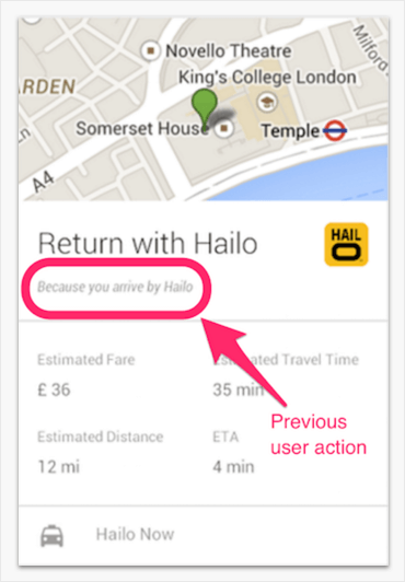 Hailo card promtps user based on previous actions