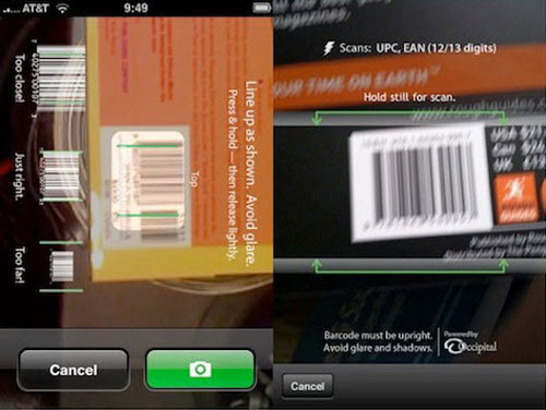 RedLaser's scanning interface initially required users to take a picture of the barcode they were interested in (left). The app went viral when they changed the interface to match how a real barcode scanner works. Hover, beep, you're done (right).