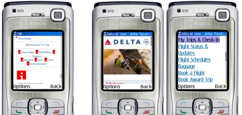 Cater to feature phone users, as CNN does with access keys, not as Delta does by making the first action to be nine key presses downs