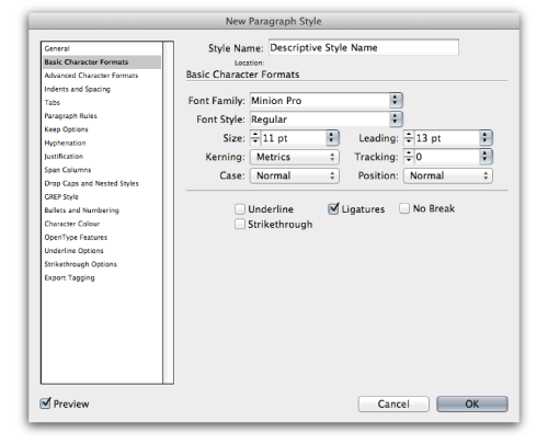 InDesign's Paragraph Styles Window