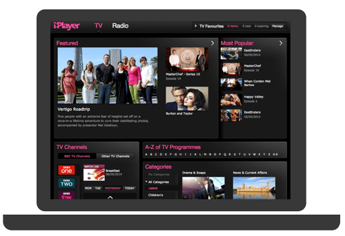The old iPlayer homepage