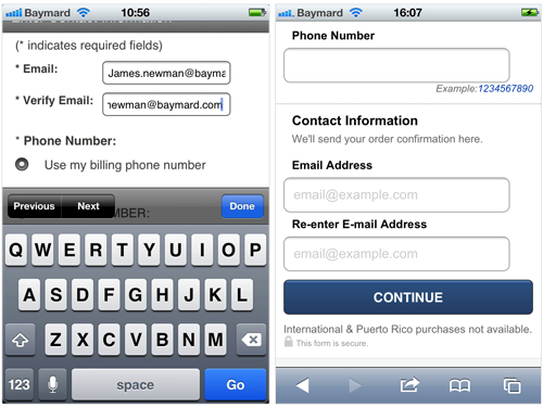 On mobile devices the placing the label above the form field will ensure maximum width for the user input.