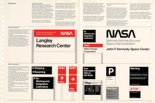 A page from the NASA Graphics Manual depicting layout of signs.