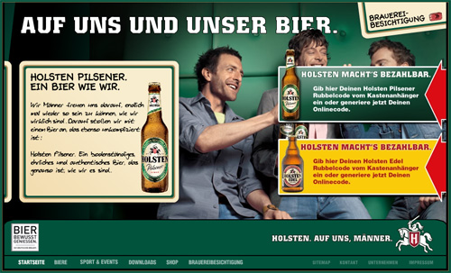 Holsten Pilsener in Showcase of Web Design in Germany