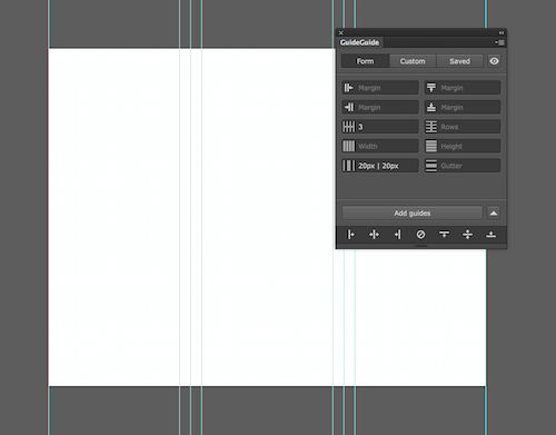Image of an Illustrator document with a three column grid and gutters with midpoints.