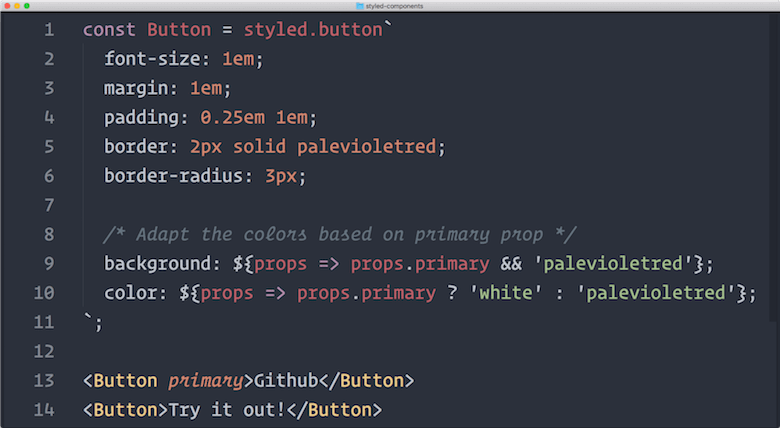 Styled Components - A screenshot of styled-components code
