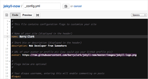 Editing your website's _config.yml on GitHub.com