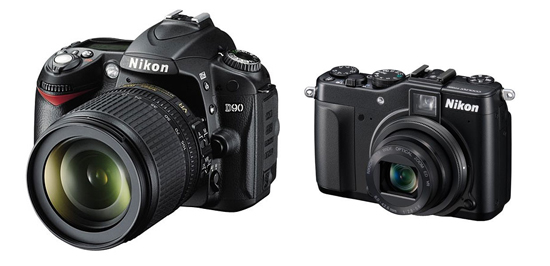 A DSLR type camera and a point and shoot type camera