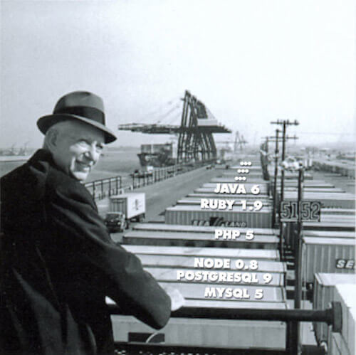 Malcolm McLean at railing, Port Newark, 1957, with runtimes neatly in containers