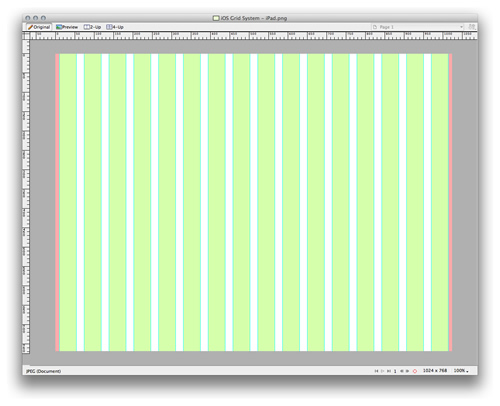 Grid on the canvas: shapes and guides