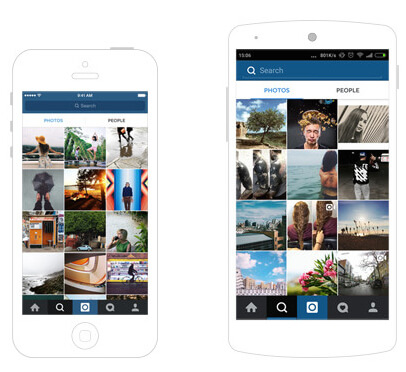 Instagram search interface iOS and Android