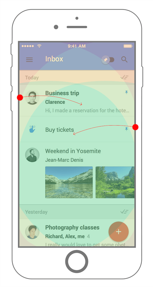 Google Inbox swipe areas