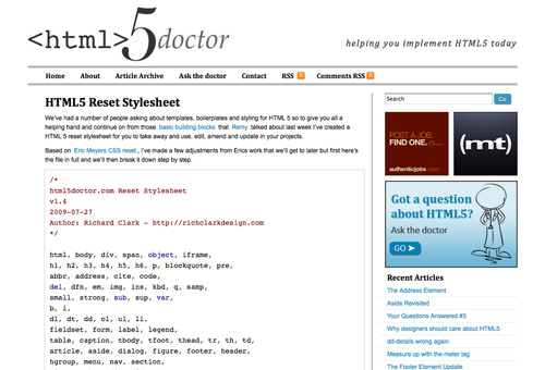 html5doctor's CSS reset
