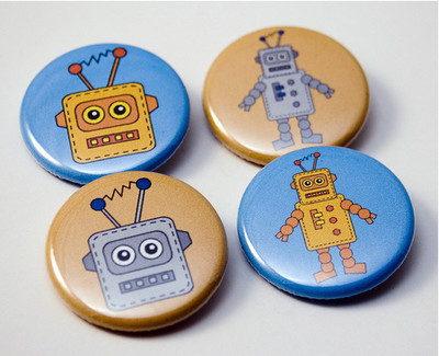 Pins, Badges and Buttons - Toy Robots - pinback buttons