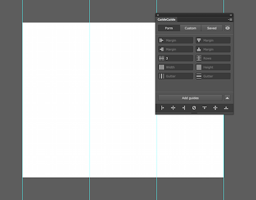Image of an Illustrator document with a three column grid.