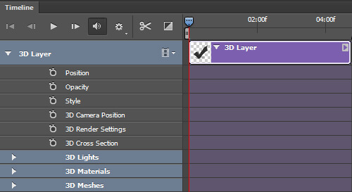 A 3D layer in the timeline with the layer properties exposed