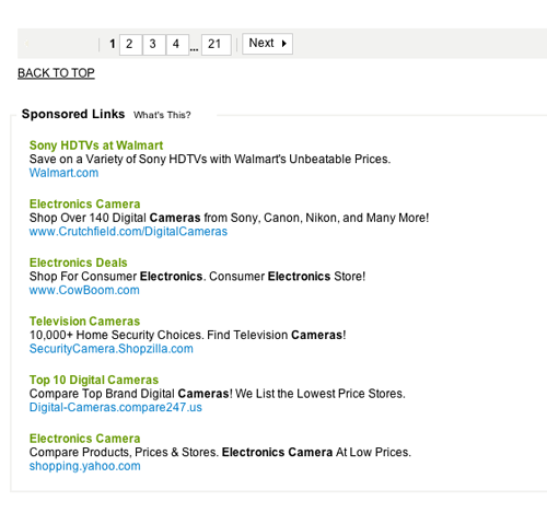 Overstock.com actually displays ads for competitors on the same page it sells its products