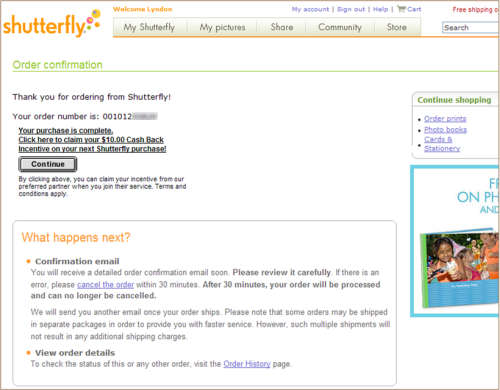 Shutterfly's order confirmation informs users what to expect next, with contextual links