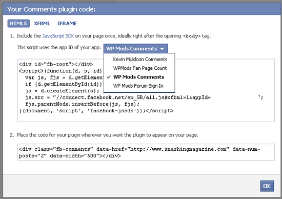 Get Facebook Application Code