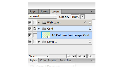 Layers panel, a symbols with the grid inside.