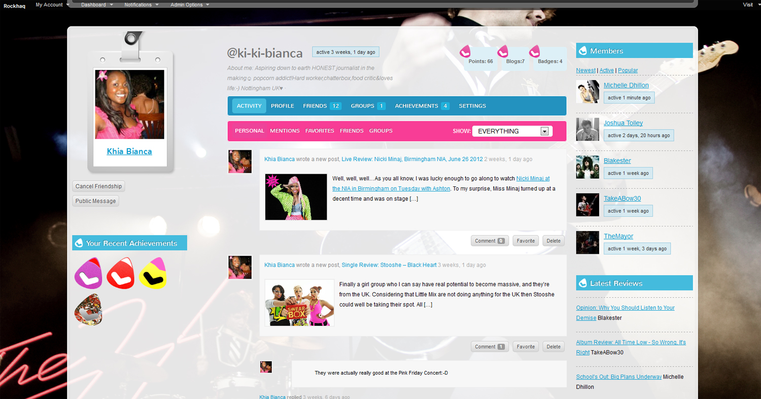 Rockhaq User's Profile Showing Achievements