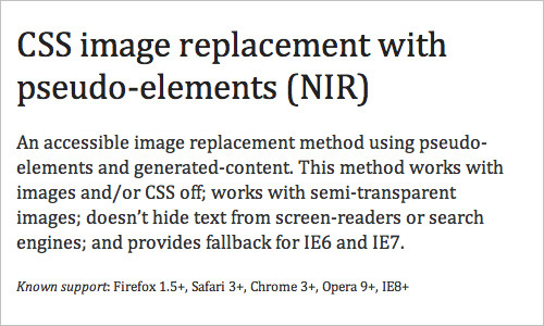 CSS image replacement with pseudo-elements (NIR)