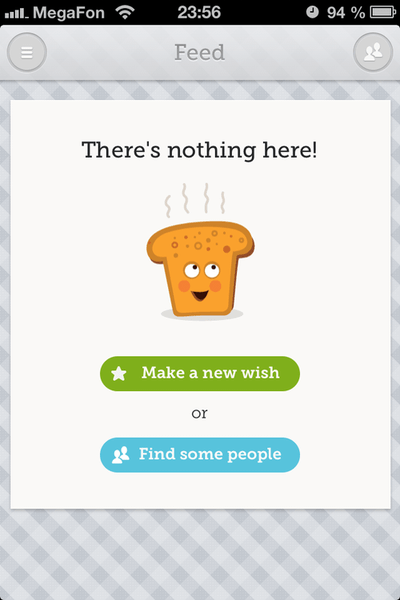 The first screen of the Toast app encourages users to get started.