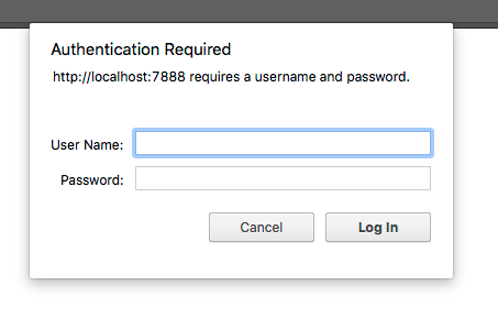 The Basic Auth log-in dialog