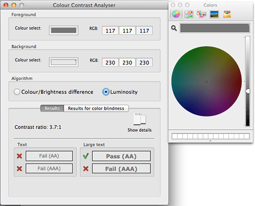 Colour Contrast Analyser, and color wheel to modify colors