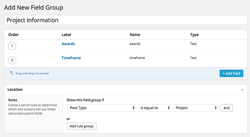 A preview of the ACF UI for creating custom metadata.