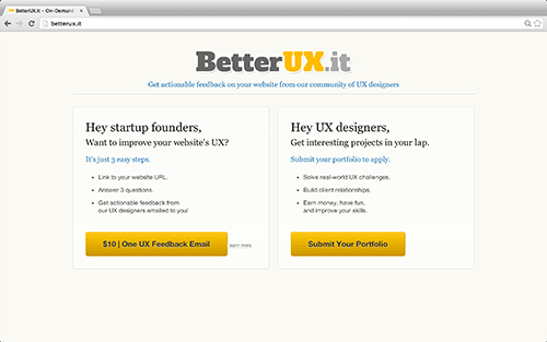 A landing page that tests both sides of the market, simultaneously.