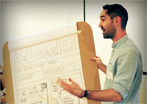 UX designer Matt Tyas presents a prototype concept.