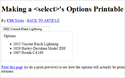 Make a Select's Options Printable