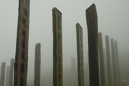 A Picture of wooden stakes with Buddhist inscriptions