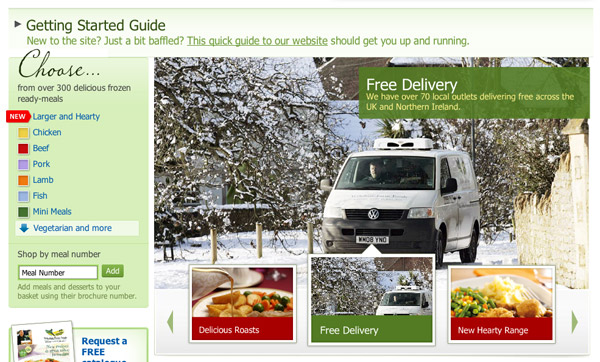 Food delivery van delivering in bad weather