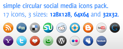 Free Icons Round-Up - Social Media Icons Pack in 3 Sizes for Download