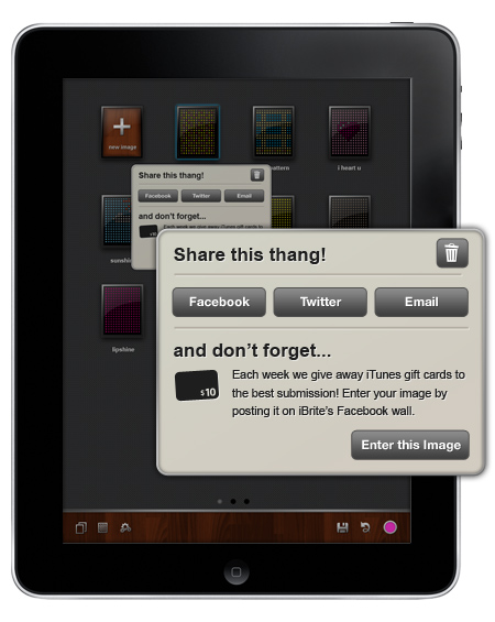 Example of a contextual sharing dialog