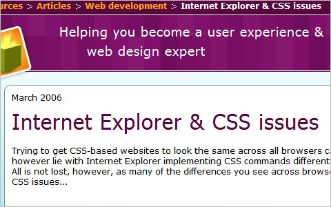 Internet Explorer & CSS issues