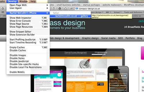 You will see your iOS device as an option in the Developer menu of desktop Safari.